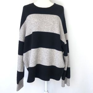 ALL SAINTS Wool Knitted Stripe Over Sized Sweater